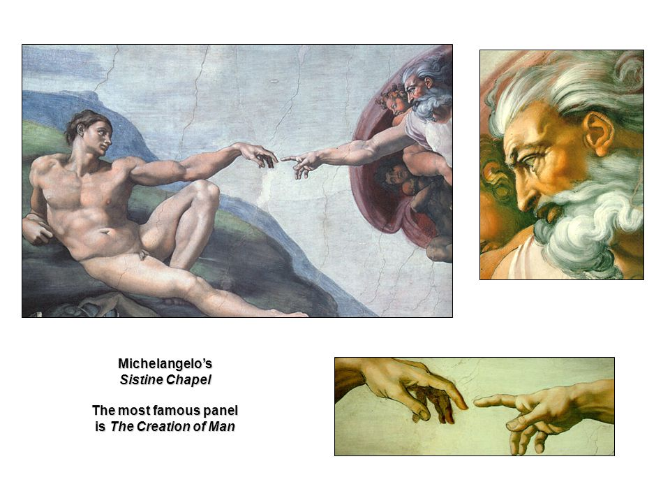 Michelangelo's The most famous panel is The Creation of Man