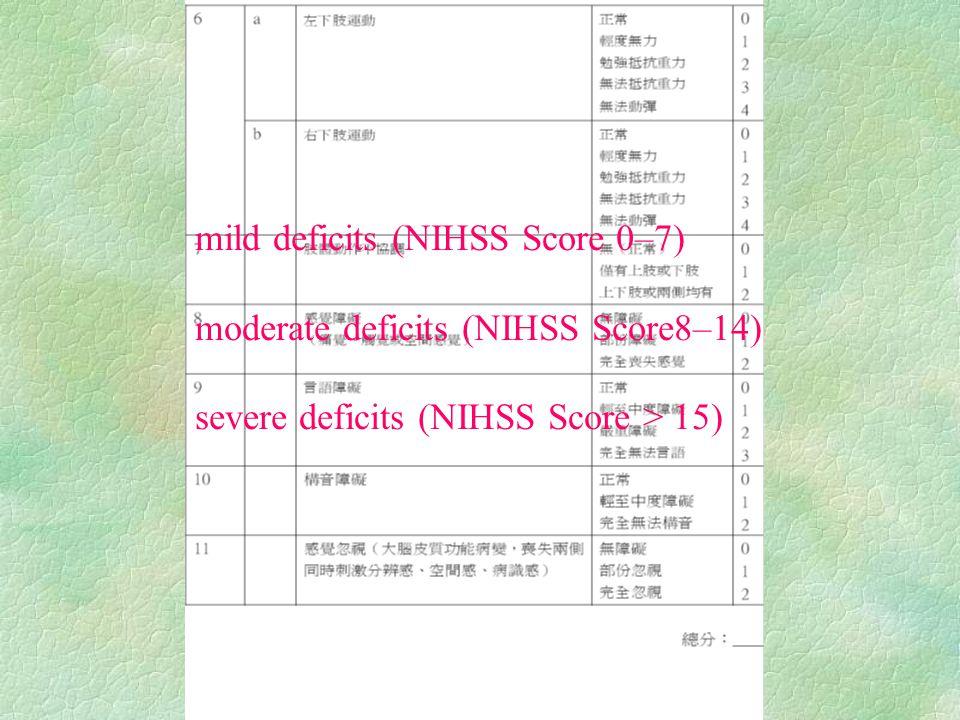 mild deficits (NIHSS Score 0–7) moderate deficits (NIHSS Score8–14) severe deficits (NIHSS Score > 15)