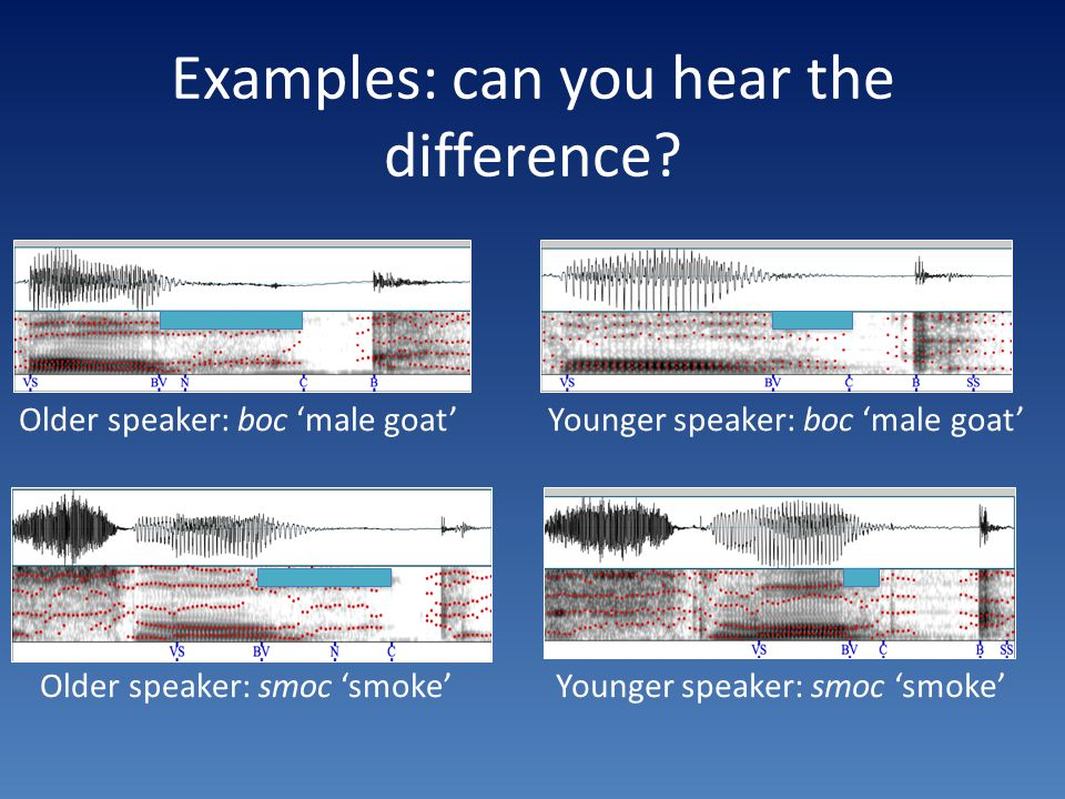 Examples: can you hear the difference.