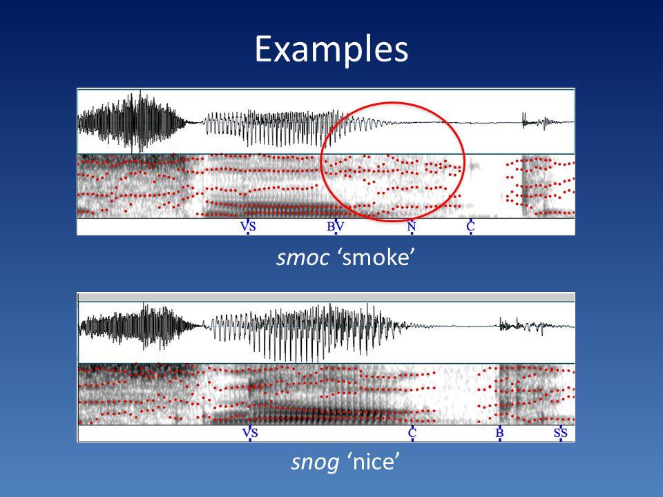 Examples smoc 'smoke' snog 'nice'