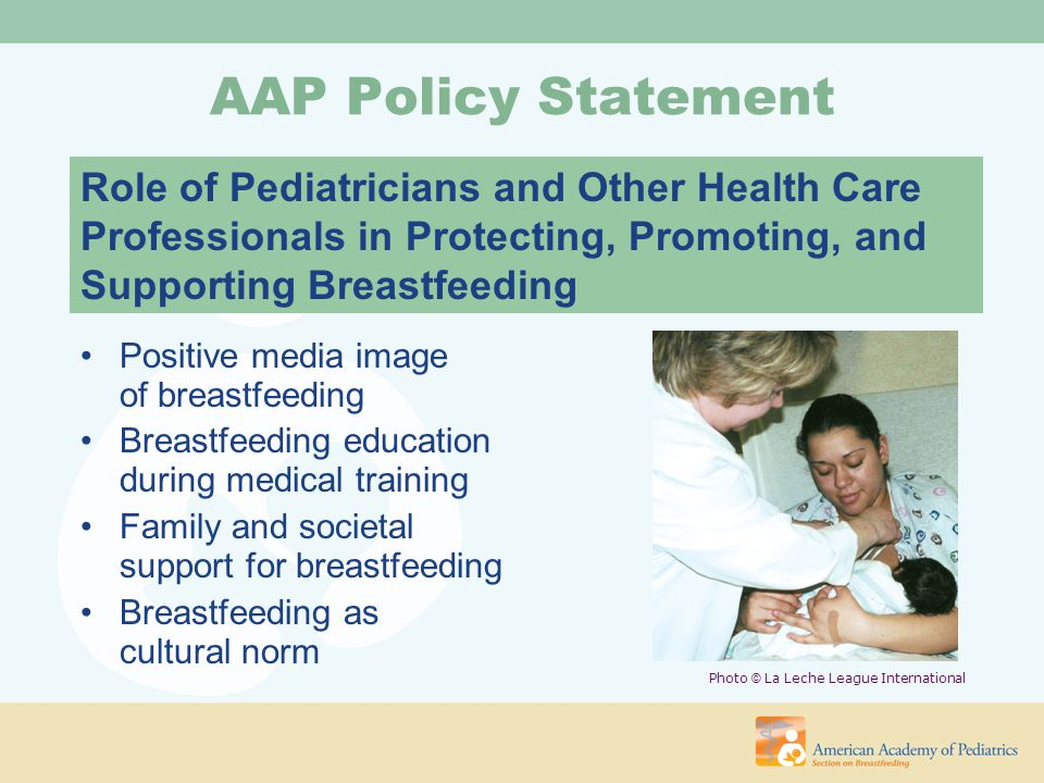 Opportunities to Promote Breastfeeding Preconception –Education in school systems –Pediatric and adolescent visits –Gynecologic visits –Breast examinations