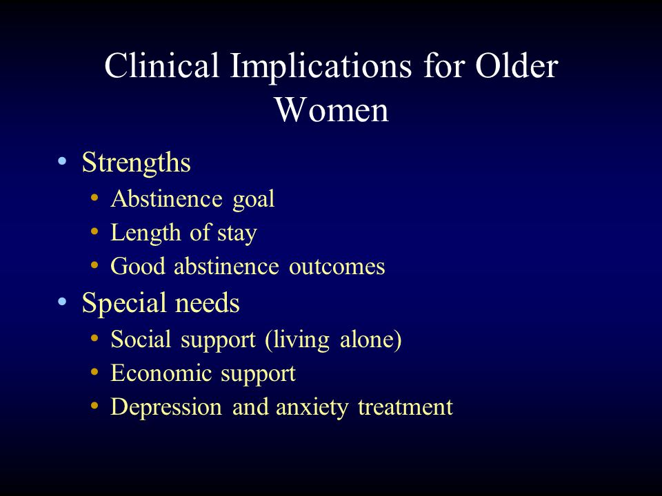 Clinical Implications for Older Women Strengths Abstinence goal Length of stay Good abstinence outcomes Special needs Social support (living alone) Economic support Depression and anxiety treatment