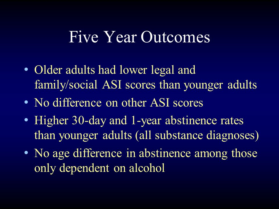 Five Year Outcomes Older adults had lower legal and family/social ASI scores than younger adults No difference on other ASI scores Higher 30-day and 1-year abstinence rates than younger adults (all substance diagnoses) No age difference in abstinence among those only dependent on alcohol