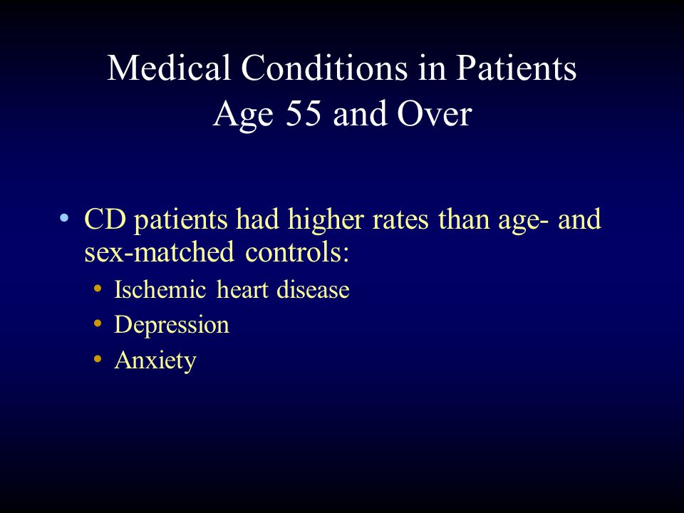 Medical Conditions in Patients Age 55 and Over CD patients had higher rates than age- and sex-matched controls: Ischemic heart disease Depression Anxiety