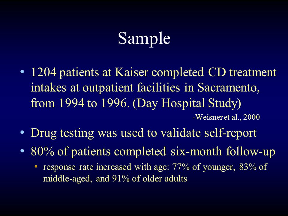 Sample 1204 patients at Kaiser completed CD treatment intakes at outpatient facilities in Sacramento, from 1994 to 1996.