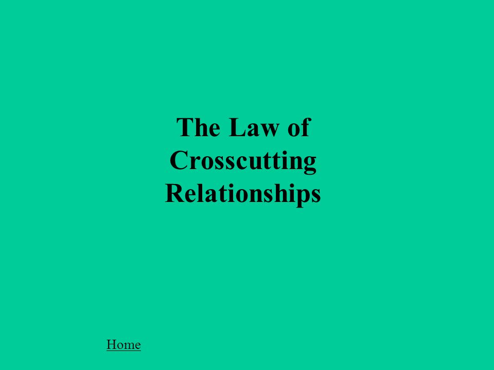 The Law of Crosscutting Relationships Home