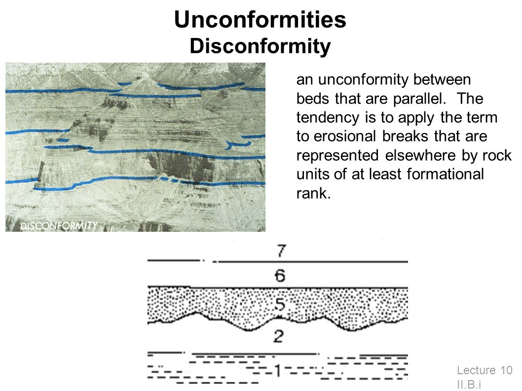 Unconformities Disconformity Lecture 10 II.B.i an unconformity between beds that are parallel.