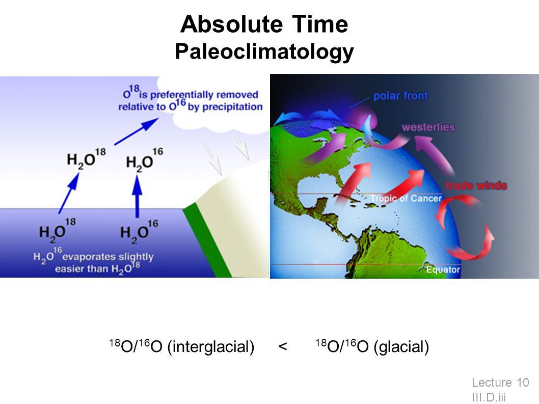 Lecture 10 III.D.iii 18 O/ 16 O (interglacial) < 18 O/ 16 O (glacial) Absolute Time Paleoclimatology