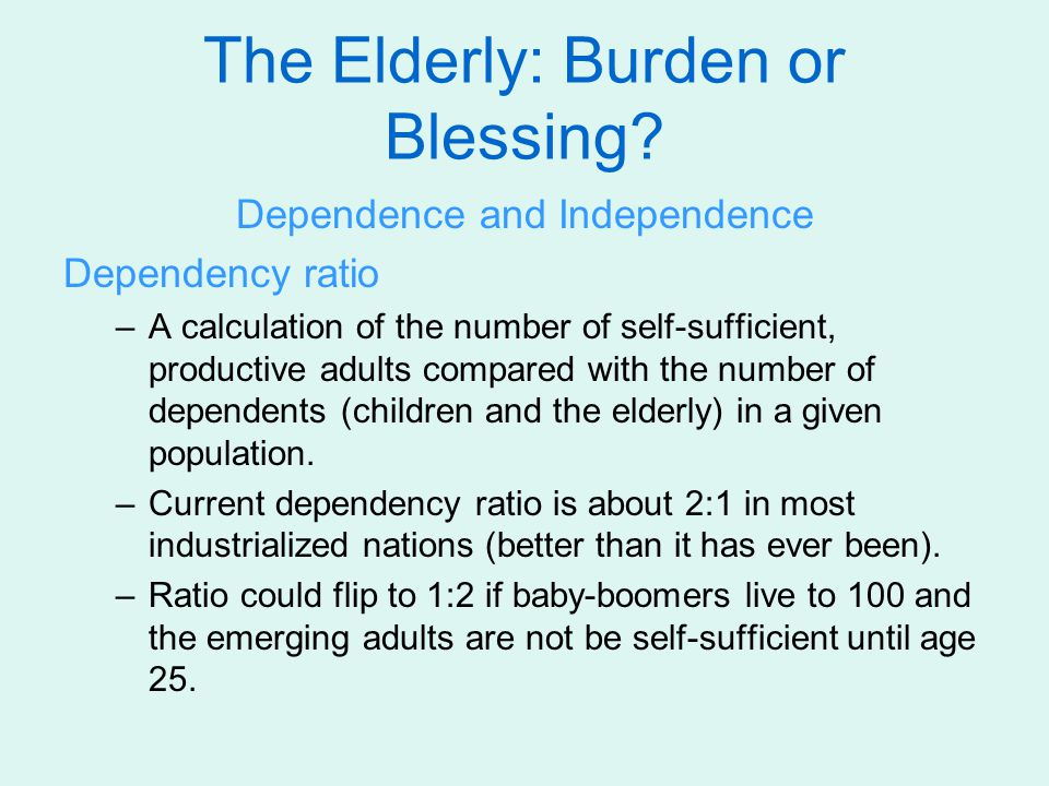 The Elderly: Burden or Blessing.Caregivers or Care Receivers.