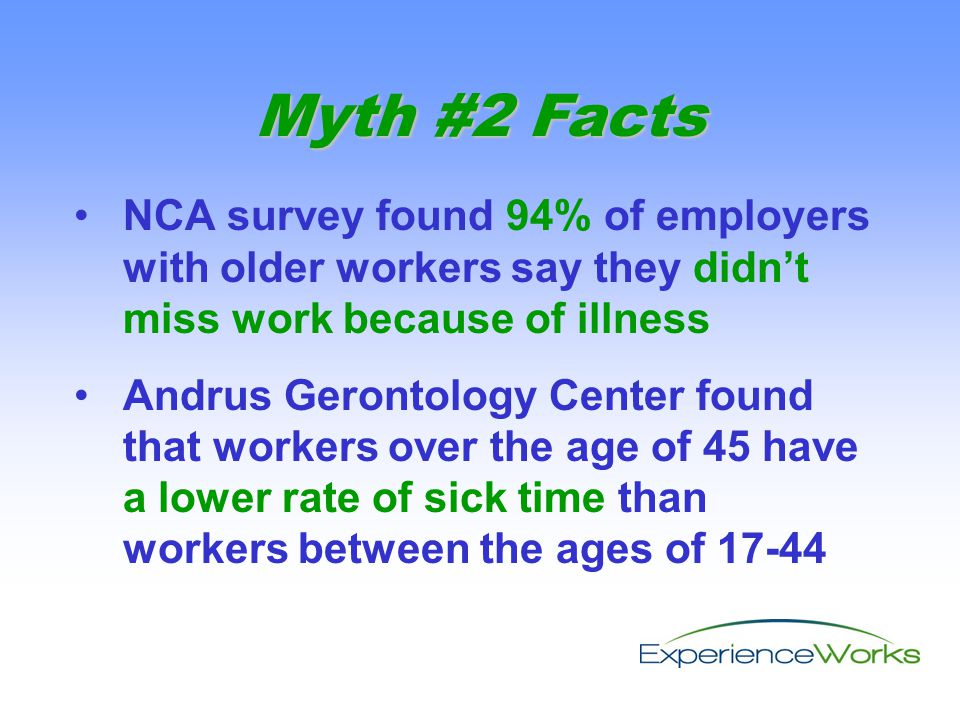NCA survey found 94% of employers with older workers say they didn't miss work because of illness Andrus Gerontology Center found that workers over the age of 45 have a lower rate of sick time than workers between the ages of 17-44 Myth #2 Facts