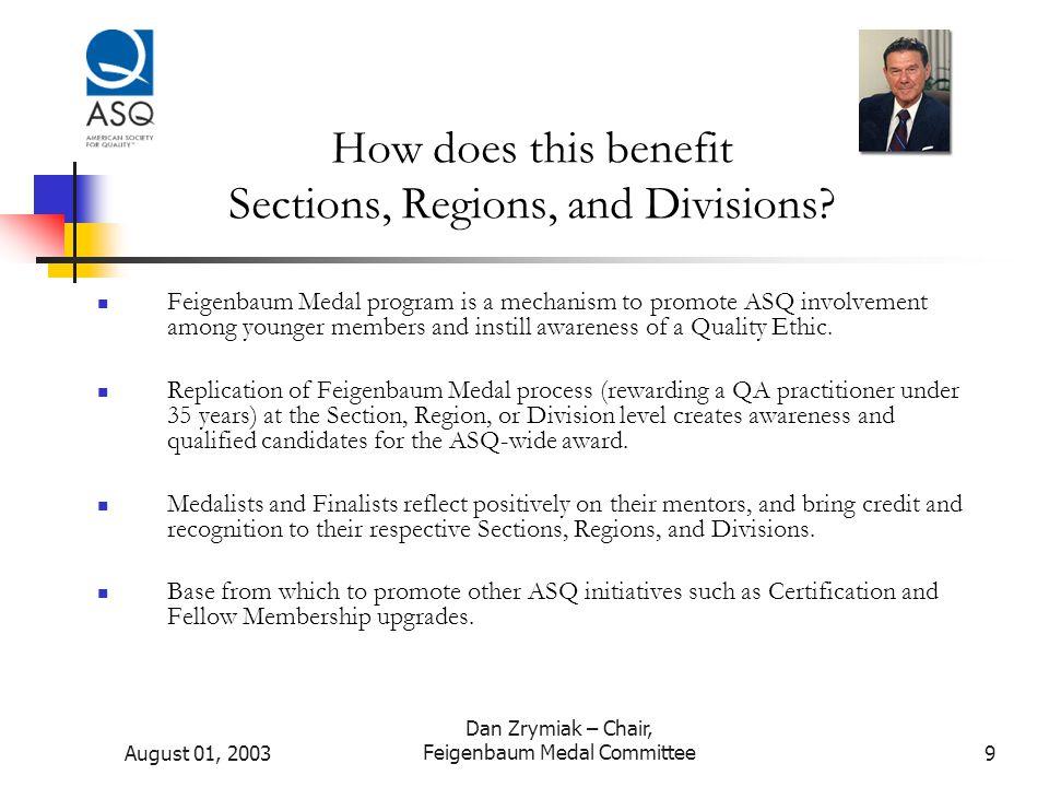 August 01, 2003 Dan Zrymiak – Chair, Feigenbaum Medal Committee10 Sounds great.