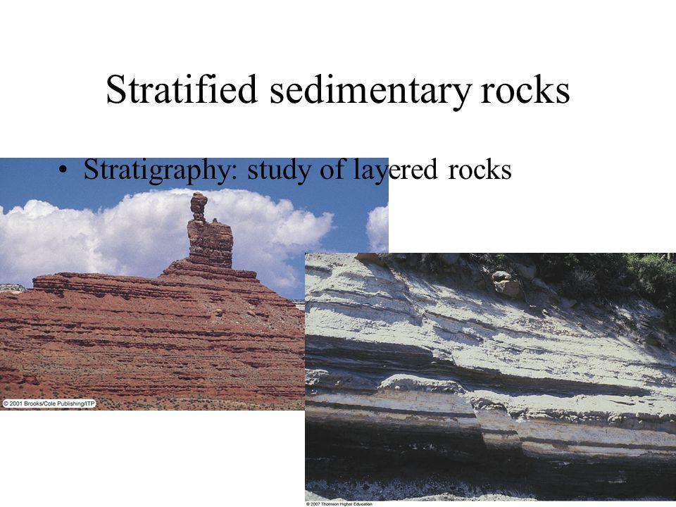 Stratified sedimentary rocks Stratigraphy: study of layered rocks