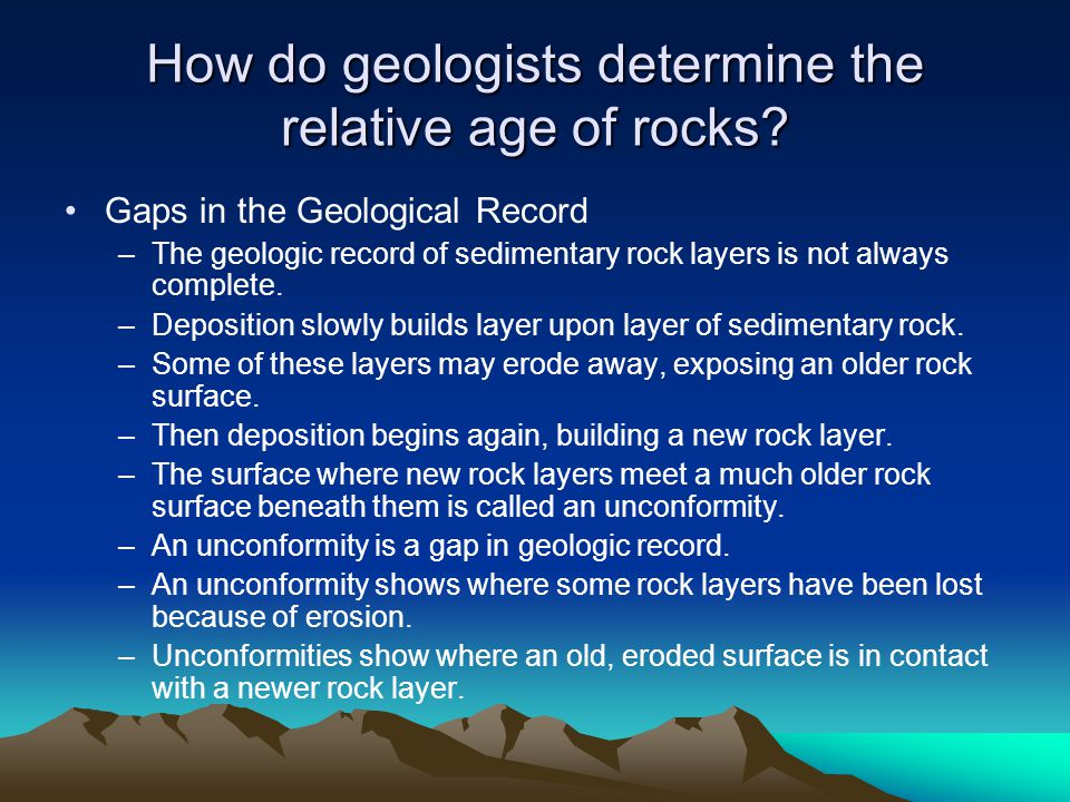 How do geologists determine the relative age of rocks.