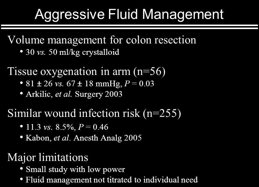 Aggressive Fluid Management Volume management for colon resection 30 vs.