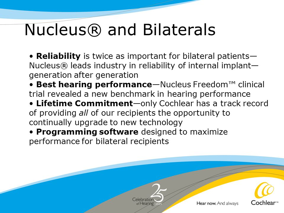 Nucleus® and Bilaterals Reliability is twice as important for bilateral patients— Nucleus® leads industry in reliability of internal implant— generation after generation Best hearing performance—Nucleus Freedom™ clinical trial revealed a new benchmark in hearing performance Lifetime Commitment—only Cochlear has a track record of providing all of our recipients the opportunity to continually upgrade to new technology Programming software designed to maximize performance for bilateral recipients