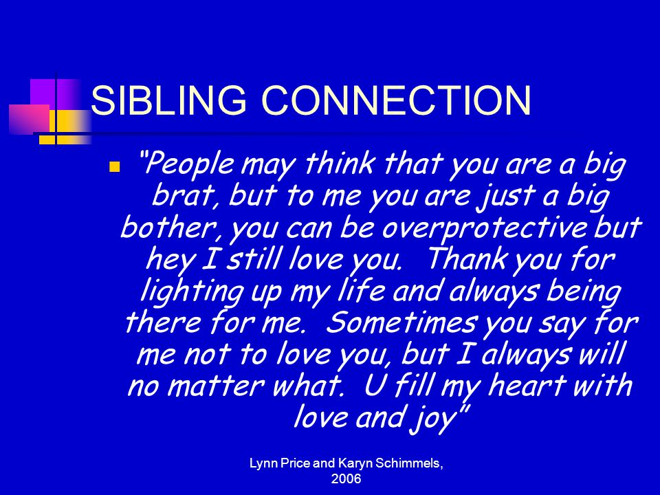 Lynn Price and Karyn Schimmels, 2006 YOUNG - ADULTS Rights of older siblings to file suit for access to a younger sibling….custody of younger Hey bro- I think of you all the time.