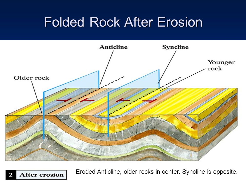 Folded Rock After Erosion Eroded Anticline, older rocks in center. Syncline is opposite.