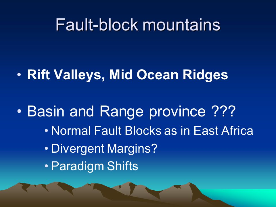 Fault-block mountains Rift Valleys, Mid Ocean Ridges Basin and Range province ??? Normal Fault Blocks as in East Africa Divergent Margins? Paradigm Sh