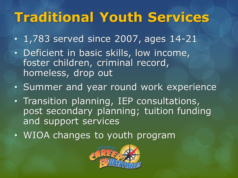 Traditional Youth Services 1,783 served since 2007, ages 14-21 1,783 served since 2007, ages 14-21 Deficient in basic skills, low income, foster children, criminal record, homeless, drop out Deficient in basic skills, low income, foster children, criminal record, homeless, drop out Summer and year round work experience Summer and year round work experience Transition planning, IEP consultations, post secondary planning; tuition funding and support services Transition planning, IEP consultations, post secondary planning; tuition funding and support services WIOA changes to youth program WIOA changes to youth program