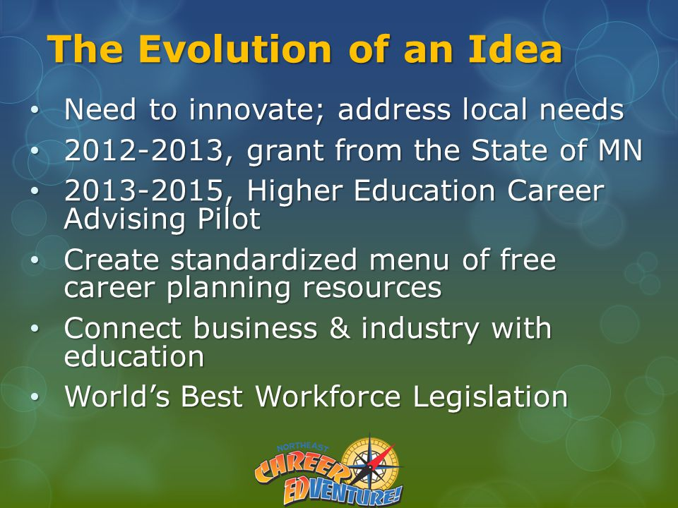 The Evolution of an Idea Need to innovate; address local needs Need to innovate; address local needs 2012-2013, grant from the State of MN 2012-2013, grant from the State of MN 2013-2015, Higher Education Career Advising Pilot 2013-2015, Higher Education Career Advising Pilot Create standardized menu of free career planning resources Create standardized menu of free career planning resources Connect business & industry with education Connect business & industry with education World's Best Workforce Legislation World's Best Workforce Legislation