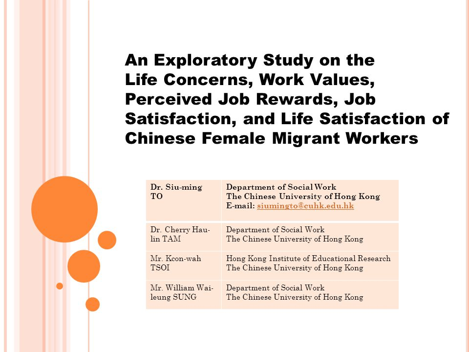 An Exploratory Study on the Life Concerns, Work Values, Perceived Job Rewards, Job Satisfaction, and Life Satisfaction of Chinese Female Migrant Workers Dr.