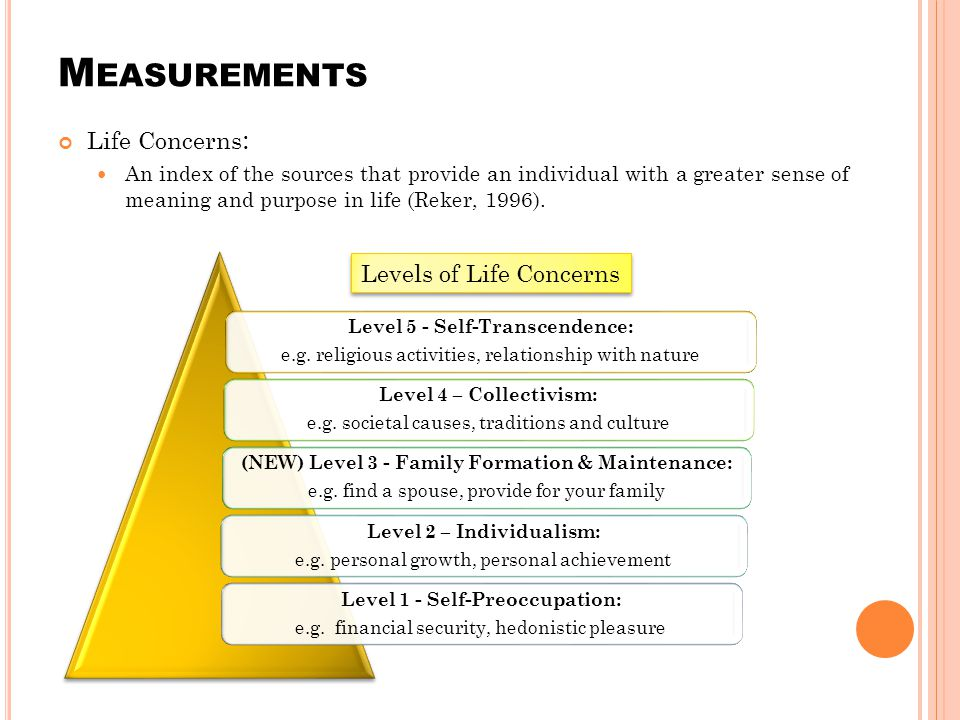 M EASUREMENTS Life Concerns : An index of the sources that provide an individual with a greater sense of meaning and purpose in life (Reker, 1996).
