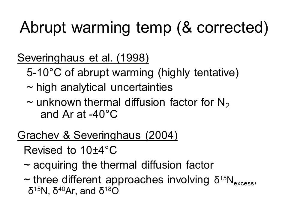 Abrupt warming temp (& corrected) Severinghaus et al.