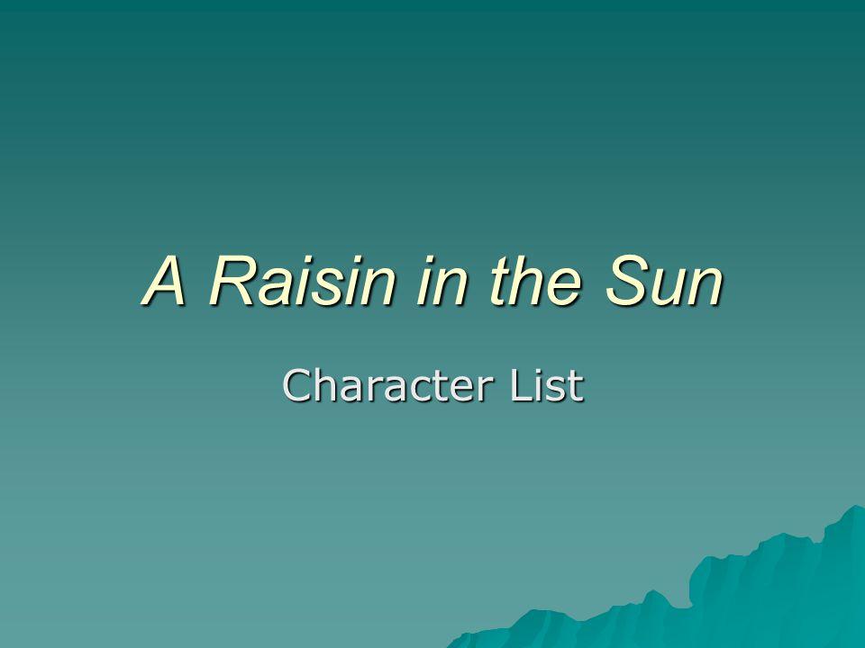 A Raisin in the Sun Character List