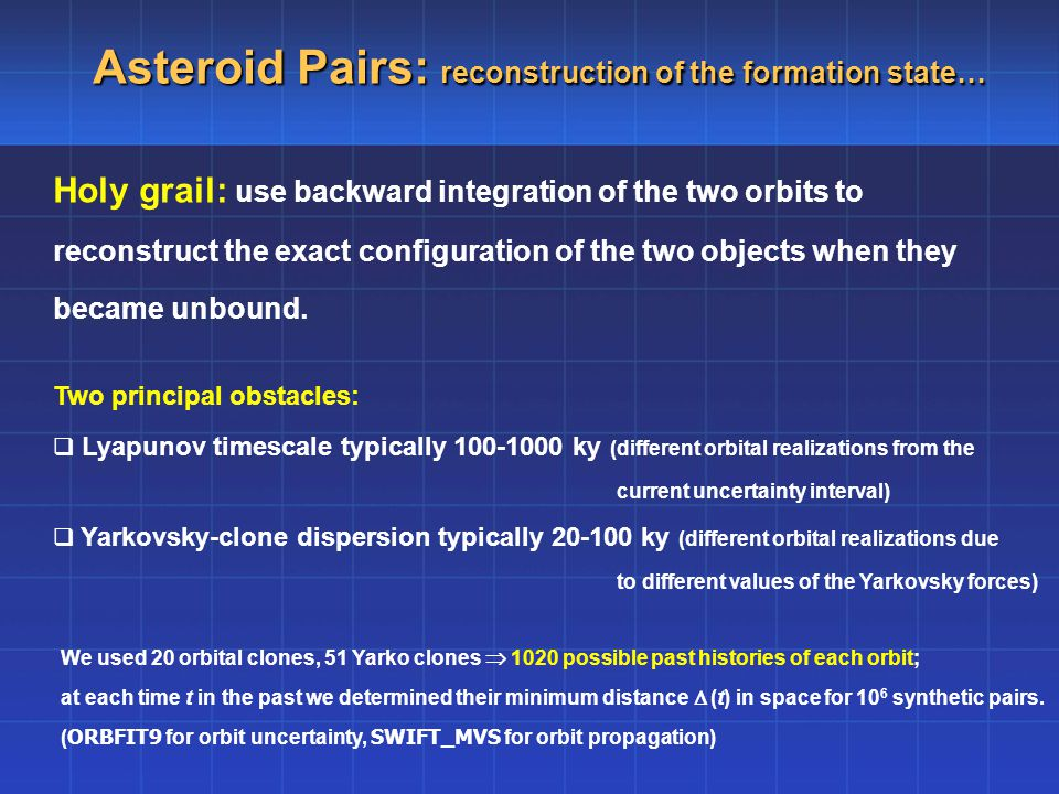 Asteroid Pairs: reconstruction of the formation state… Holy grail: use backward integration of the two orbits to reconstruct the exact configuration of the two objects when they became unbound.