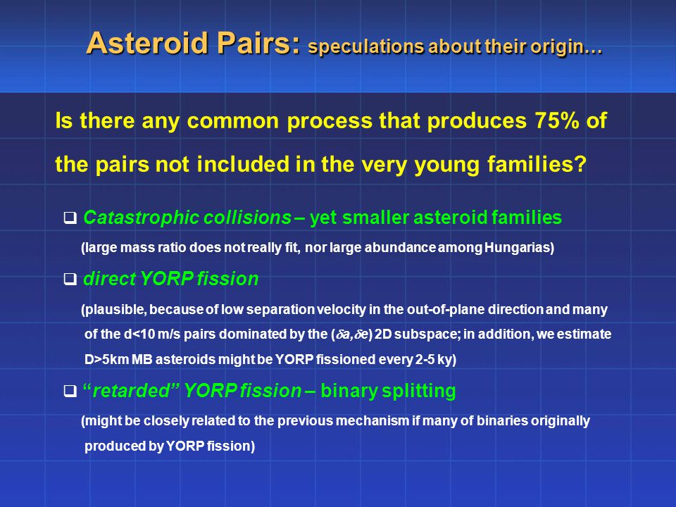 Asteroid Pairs: speculations about their origin… Is there any common process that produces 75% of the pairs not included in the very young families.