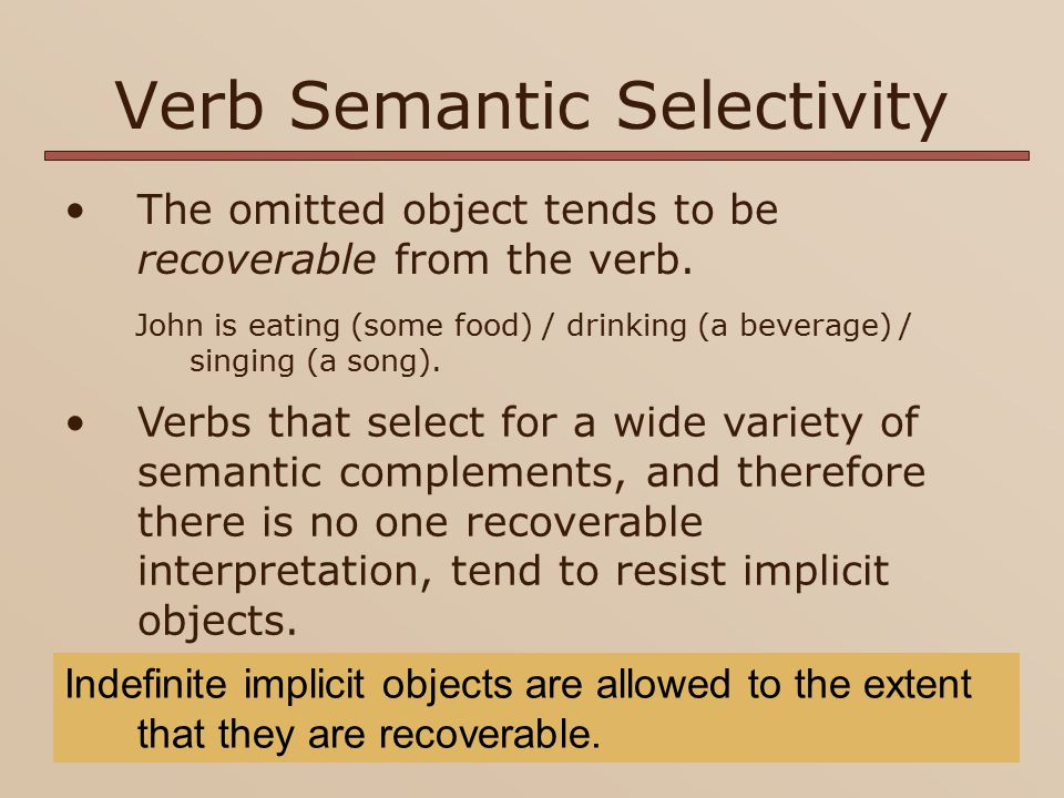 Indefinite Implicit Objects and Verb Semantic Selectivity Does the rate of indefinite implicit objects increase as a function of SPS/OS.