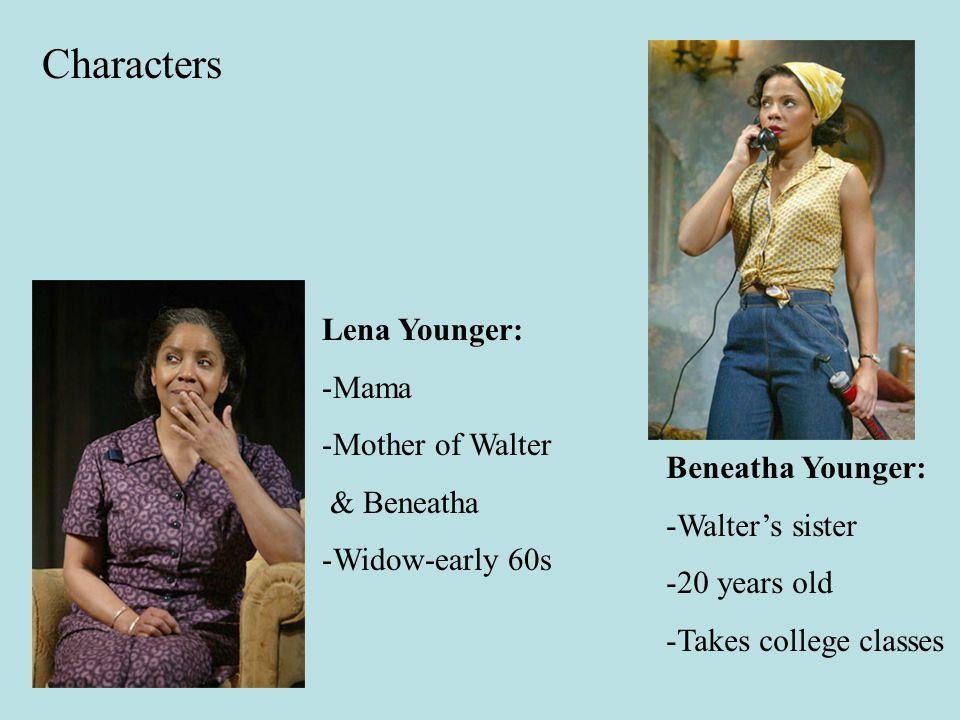 Characters Lena Younger: -Mama -Mother of Walter & Beneatha -Widow-early 60s Beneatha Younger: -Walter's sister -20 years old -Takes college classes