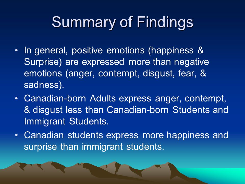 Summary of Findings In general, positive emotions (happiness & Surprise) are expressed more than negative emotions (anger, contempt, disgust, fear, & sadness).