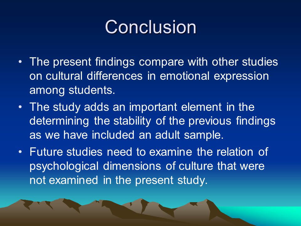 Conclusion The present findings compare with other studies on cultural differences in emotional expression among students.