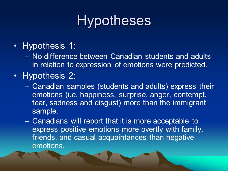 Hypotheses Hypothesis 1: –No difference between Canadian students and adults in relation to expression of emotions were predicted.