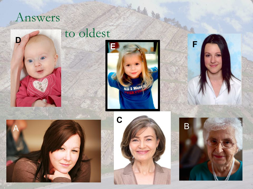 Answers youngest to oldest A B C D E F
