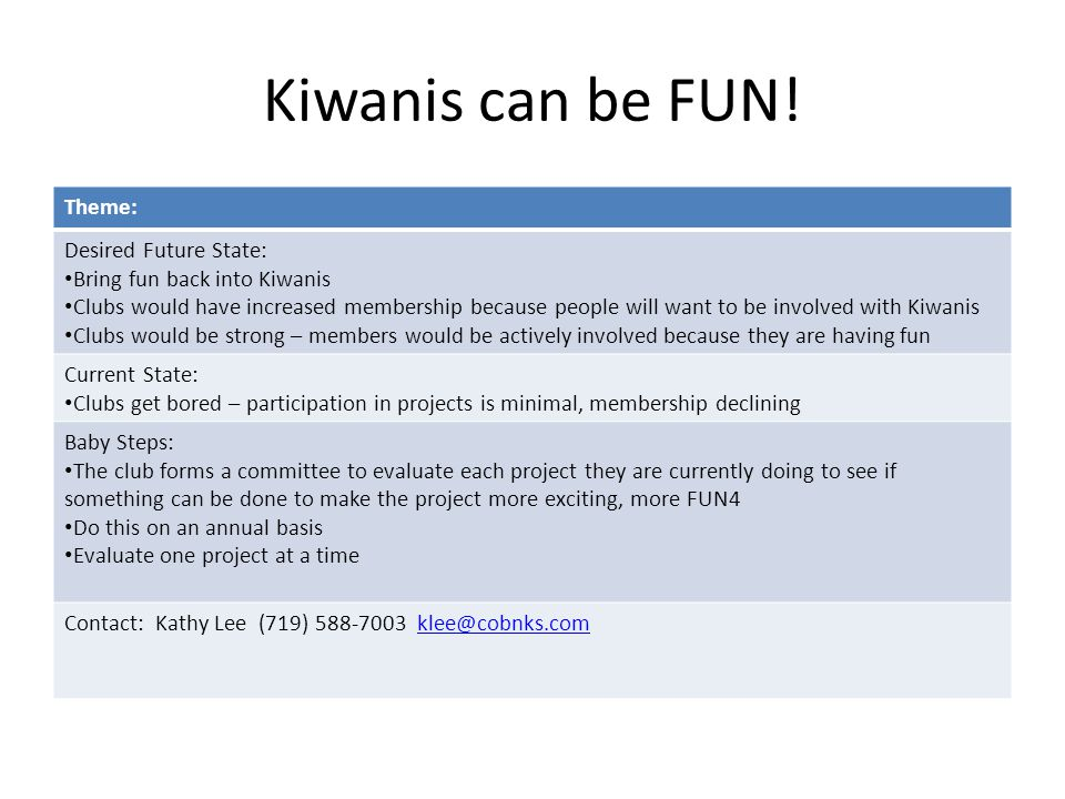 Kiwanis can be FUN.