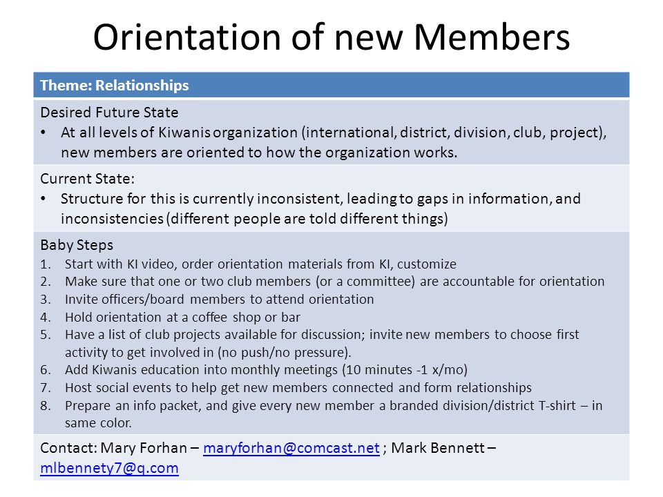 Orientation of new Members Theme: Relationships Desired Future State At all levels of Kiwanis organization (international, district, division, club, project), new members are oriented to how the organization works.