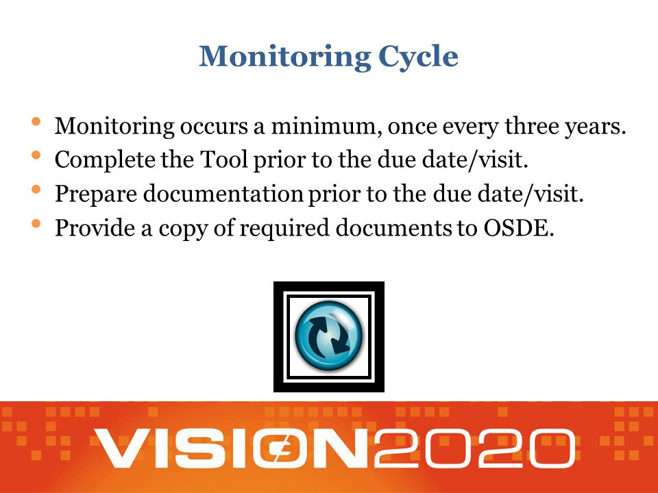 Monitoring Cycle Monitoring occurs a minimum, once every three years. Complete the Tool prior to the due date/visit. Prepare documentation prior to th