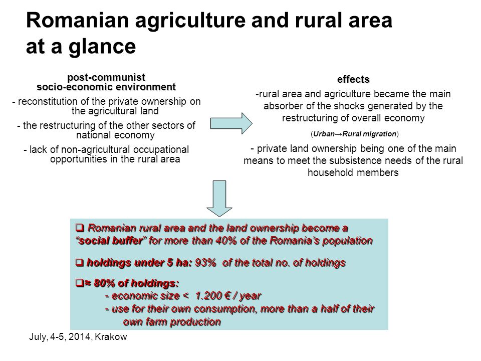 July, 4-5, 2014, Krakow Romanian agriculture and rural area at a glance post-communist socio-economic environment - reconstitution of the private ownership on the agricultural land - the restructuring of the other sectors of national economy - lack of non-agricultural occupational opportunities in the rural areaeffects -rural area and agriculture became the main absorber of the shocks generated by the restructuring of overall economy (Urban→Rural migration) - private land ownership being one of the main means to meet the subsistence needs of the rural household members  Romanian rural area and the land ownership become a social buffer for more than 40% of the Romania's population  holdings under 5 ha: 93% of the total no.