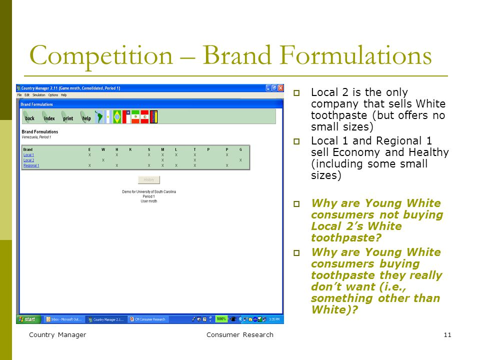 Country ManagerConsumer Research11 Competition – Brand Formulations  Local 2 is the only company that sells White toothpaste (but offers no small sizes)  Local 1 and Regional 1 sell Economy and Healthy (including some small sizes)  Why are Young White consumers not buying Local 2's White toothpaste.