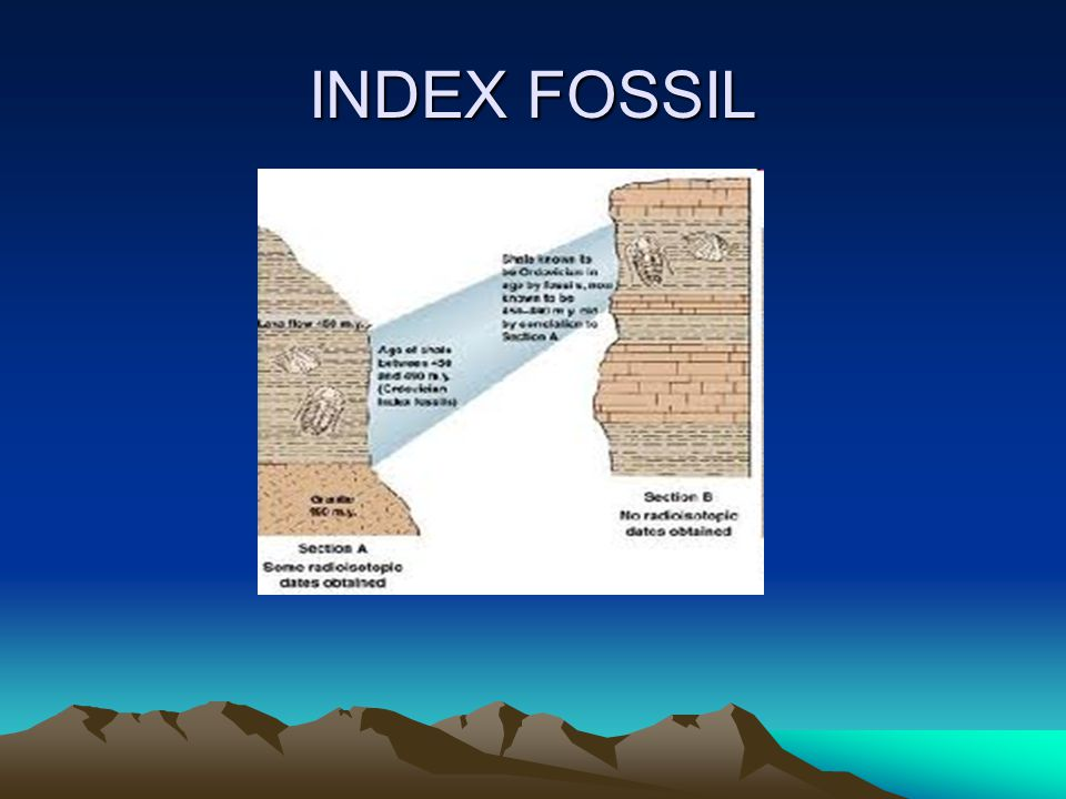 USING FOSSILS INDEX FOSSIL- A FOSSIL THAT IS WIDELY DISTRIBUTED AND REPRESENT A TYPE OF ORGANISM THAT EXISTED ONLY BRIEFLY. KEY- INDEX FOSSILS ARE USE