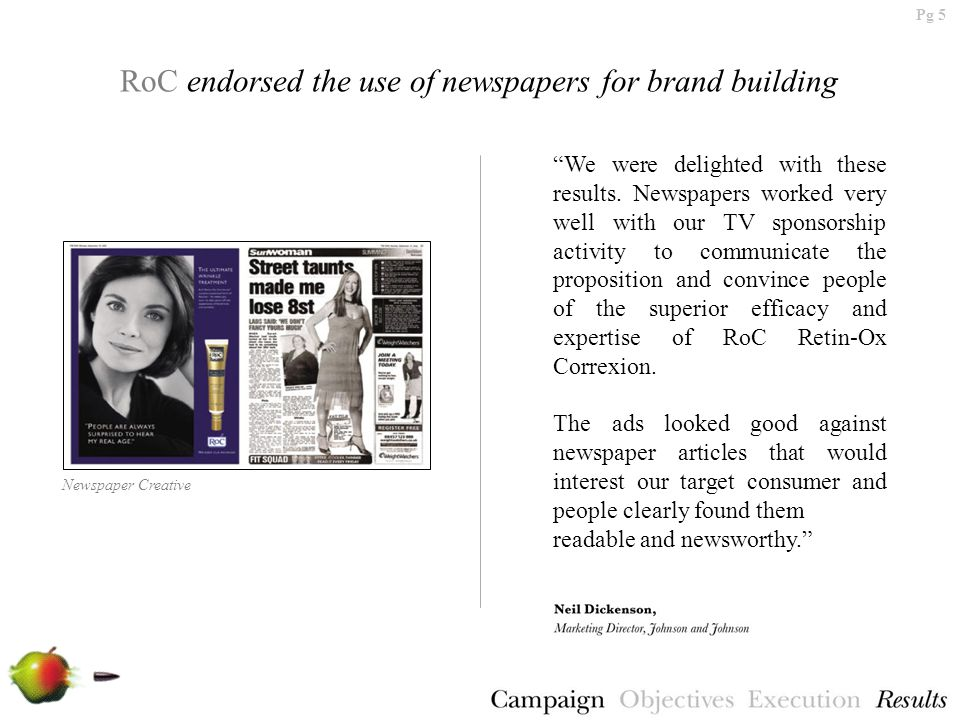 Pg 5 RoC endorsed the use of newspapers for brand building We were delighted with these results.