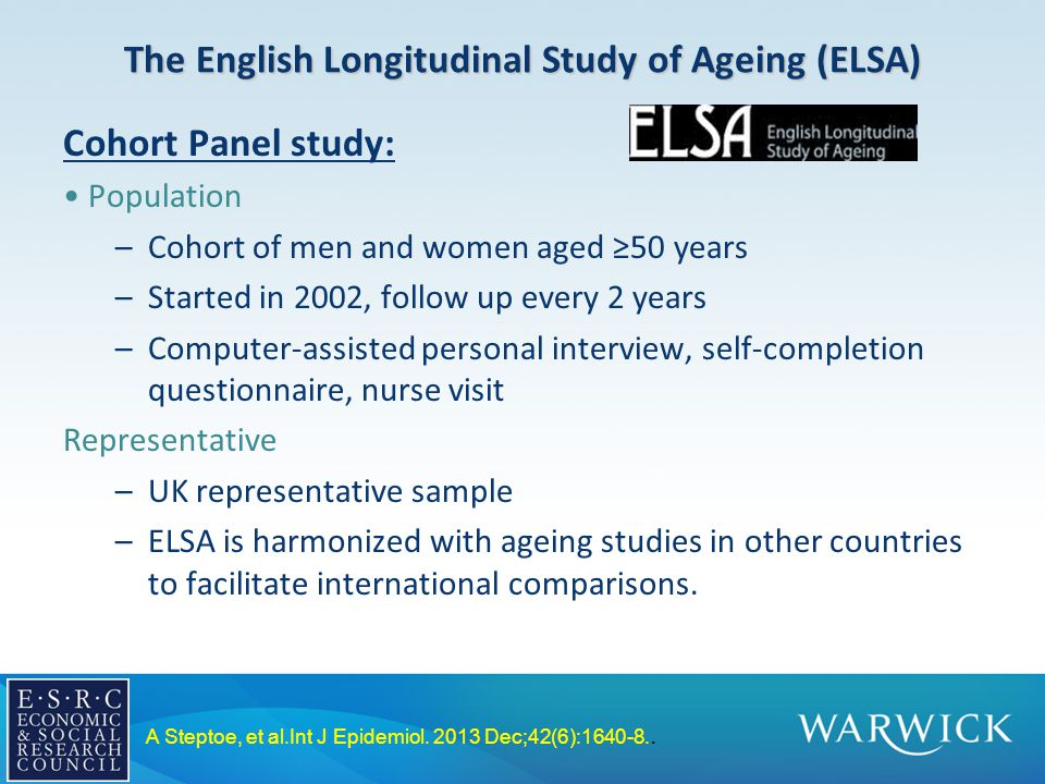 The English Longitudinal Study of Ageing (ELSA) Cohort Panel study: Population –Cohort of men and women aged ≥50 years –Started in 2002, follow up every 2 years –Computer-assisted personal interview, self-completion questionnaire, nurse visit Representative –UK representative sample –ELSA is harmonized with ageing studies in other countries to facilitate international comparisons.