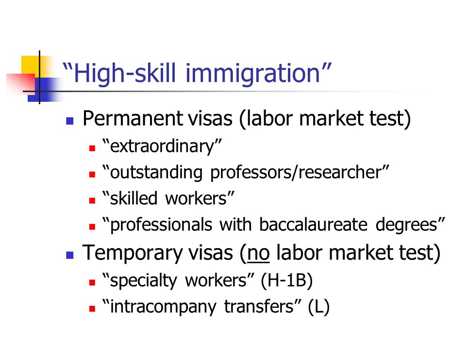 """High-skill immigration"" Permanent visas (labor market test) ""extraordinary"" ""outstanding professors/researcher"" ""skilled workers"" ""professionals with"
