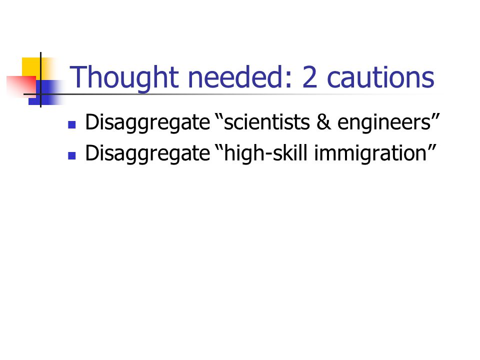 "Thought needed: 2 cautions Disaggregate ""scientists & engineers"" Disaggregate ""high-skill immigration"""