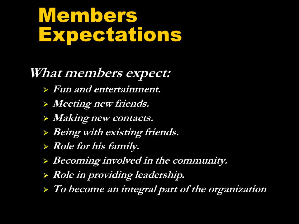 Members Expectations What members expect:  Fun and entertainment.
