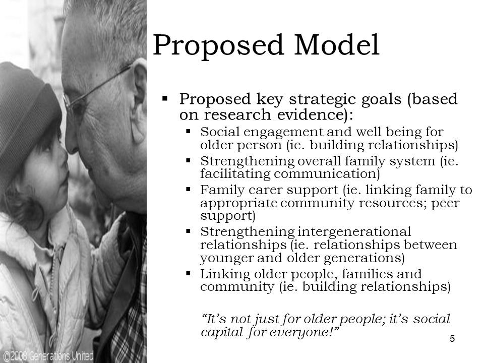 6 Proposed Model  Proposed structure (based on research evidence):  Multi-family groups (n=10) for 8 weeks  Family defined by participants but must include 3 generations  Family within geographic region  Any generation missing filled in with volunteers who act as fictive kin  2.5 hour agenda – will include family meal, shared activity (s) and one-to-one time for older and middle generation and older and younger generation  Group facilitators are other older people, family carers, younger generation and social workers  Implementation and outcome evaluation Creating a society for all ages.