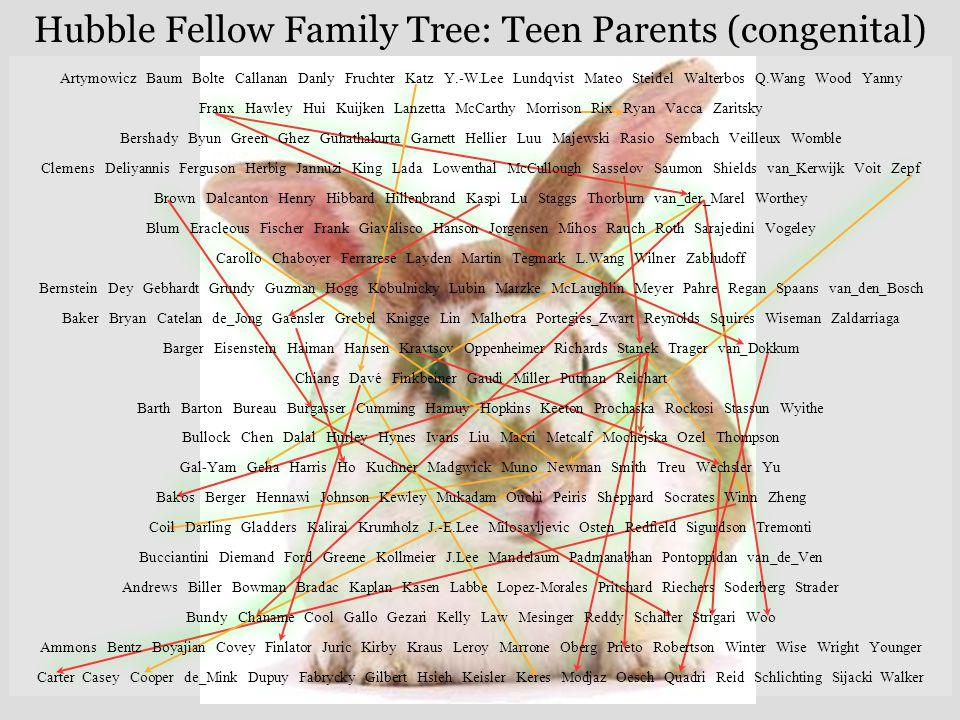 Hubble Fellow Family Tree: Teen Parents (congenital) Artymowicz Baum Bolte Callanan Danly Fruchter Katz Y.-W.Lee Lundqvist Mateo Steidel Walterbos Q.W