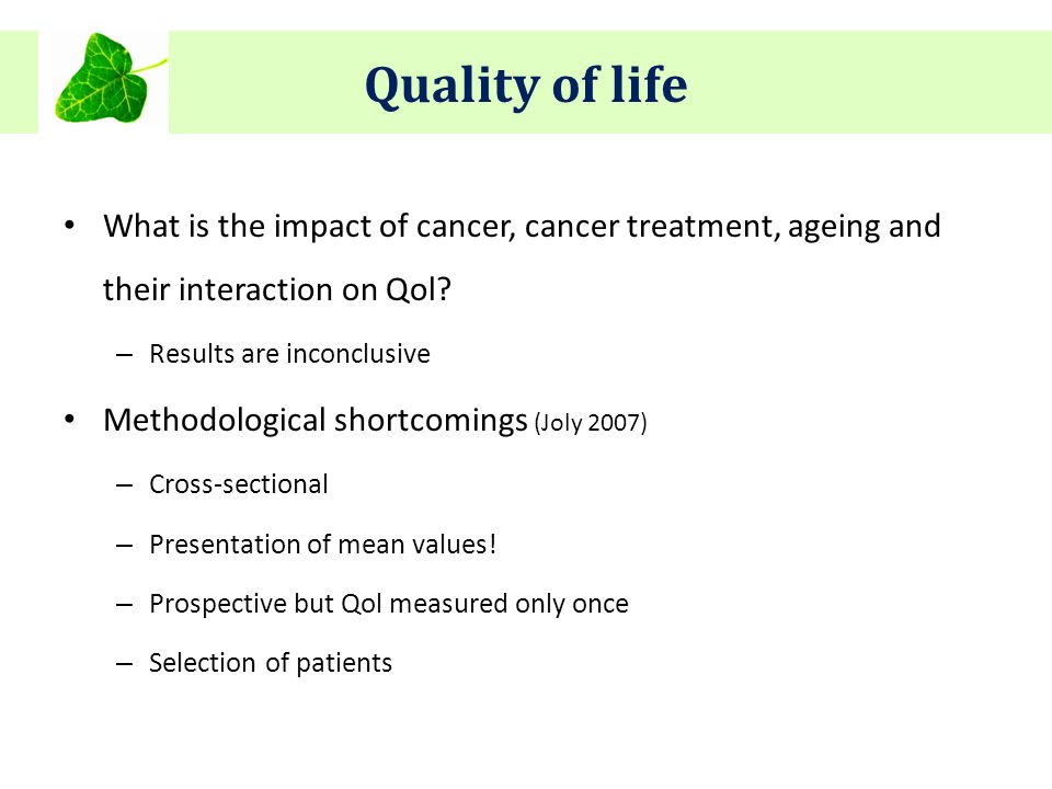 What is the impact of cancer, cancer treatment, ageing and their interaction on Qol.